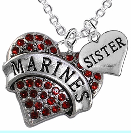 """<Br>         WHOLESALE USMC MARINES JEWELRY  <BR>                AN ALLAN ROBIN DESIGN!! <Br>          CADMIUM, LEAD & NICKEL FREE!!  <Br>W1478-1833N1 - """"MARINES - SISTER"""" HEART  <BR>  CHARMS ON LOBSTER CLASP CHAIN NECKLACE <BR>        FROM $8.50 TO $10.50 �2016"""