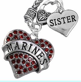 """<Br>         WHOLESALE USMC MARINES JEWELRY   <BR>                AN ALLAN ROBIN DESIGN!!  <Br>          CADMIUM, LEAD & NICKEL FREE!!   <Br>W1478-1833N10 - """"MARINES - SISTER"""" HEART   <BR>CHARMS ON CLASP OF HEART LOBSTER CLASP CHAIN  <BR>   NECKLACE FROM $8.50 TO $10.50 �2016"""
