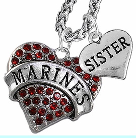 """<Br>                 WHOLESALE USMC MARINES JEWELRY   <BR>                     AN ALLAN ROBIN DESIGN!!  <Br>               CADMIUM, LEAD & NICKEL FREE!!   <Br> W1478-1833N14 - """"MARINES - SISTER"""" HEART   <BR>CHARMS ON CHAIN OF HEART LOBSTER CLASP CHAIN  <BR>         NECKLACE FROM $8.50 TO $10.50 �2016"""