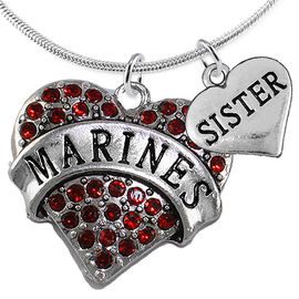 "<Br>         WHOLESALE USMC MARINES JEWELRY  <BR>                AN ALLAN ROBIN DESIGN!! <Br>          CADMIUM, LEAD & NICKEL FREE!!  <Br>W1478-1833N2 - ""MARINES - SISTER"" HEART  <BR>  CHARMS ON LOBSTER CLASP SNAKE CHAIN NECKLACE <BR>        FROM $8.50 TO $10.50 �2016"
