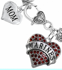 """<Br>     WHOLESALE USMC MARINES JEWELRY  <BR>                AN ALLAN ROBIN DESIGN!! <Br>          CADMIUM, LEAD & NICKEL FREE!!  <Br> W1478-1837B1 - """"MARINES - MOM"""" HEART  <BR>  CHARMS ON HEART LOBSTER CLASP BRACELET <BR>            FROM $7.50 TO $9.50 �2016"""