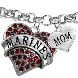 """<Br>         WHOLESALE USMC MARINES JEWELRY  <BR>                AN ALLAN ROBIN DESIGN!! <Br>          CADMIUM, LEAD & NICKEL FREE!!  <Br> W1478-1837B2 - """"MARINES - MOM"""" HEART  <BR>CHARMS ON LOBSTER CLASP ROLLO CHAIN BRACELET <BR>            FROM $7.50 TO $9.50 �2016"""