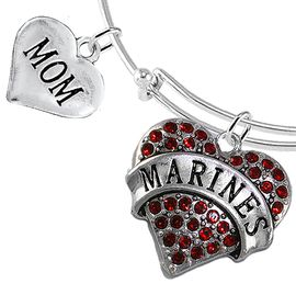 """<Br>         WHOLESALE USMC MARINES JEWELRY  <BR>                AN ALLAN ROBIN DESIGN!! <Br>          CADMIUM, LEAD & NICKEL FREE!!  <Br> W1478-1837B9 - """"MARINES - MOM"""" HEART  <BR>CHARMS ON THIN ADJUSTABLE WIRE BRACELET <BR>            FROM $7.50 TO $9.50 �2016"""