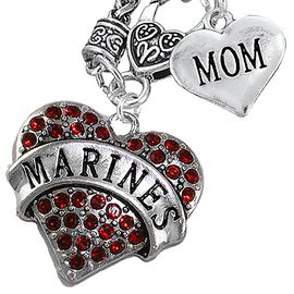 "<Br>         WHOLESALE USMC MARINES JEWELRY   <BR>                AN ALLAN ROBIN DESIGN!!  <Br>          CADMIUM, LEAD & NICKEL FREE!!   <Br>W1478-1837N10 - ""MARINES - MOM"" HEART   <BR>CHARMS ON CLASP OF HEART LOBSTER CLASP CHAIN  <BR>   NECKLACE FROM $8.50 TO $10.50 �2016"