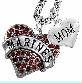 """<Br>                 WHOLESALE USMC MARINES JEWELRY   <BR>                     AN ALLAN ROBIN DESIGN!!  <Br>               CADMIUM, LEAD & NICKEL FREE!!   <Br> W1478-1837N14 - """"MARINES - MOM"""" HEART   <BR>CHARMS ON CHAIN OF HEART LOBSTER CLASP CHAIN  <BR>         NECKLACE FROM $8.50 TO $10.50 �2016"""