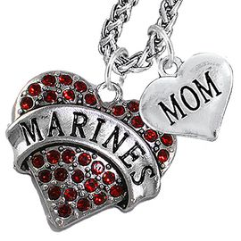 "<Br>                 WHOLESALE USMC MARINES JEWELRY   <BR>                     AN ALLAN ROBIN DESIGN!!  <Br>               CADMIUM, LEAD & NICKEL FREE!!   <Br> W1478-1837N14 - ""MARINES - MOM"" HEART   <BR>CHARMS ON CHAIN OF HEART LOBSTER CLASP CHAIN  <BR>         NECKLACE FROM $8.50 TO $10.50 �2016"
