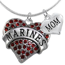 """<Br>         WHOLESALE USMC MARINES JEWELRY  <BR>                AN ALLAN ROBIN DESIGN!! <Br>          CADMIUM, LEAD & NICKEL FREE!!  <Br>W1478-1837N2 - """"MARINES - MOM"""" HEART  <BR>  CHARMS ON LOBSTER CLASP SNAKE CHAIN NECKLACE <BR>        FROM $8.50 TO $10.50 �2016"""