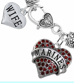 "<Br>     WHOLESALE USMC MARINES JEWELRY  <BR>                AN ALLAN ROBIN DESIGN!! <Br>          CADMIUM, LEAD & NICKEL FREE!!  <Br> W1478-1876B1 - ""MARINES - WIFE"" HEART  <BR>  CHARMS ON HEART LOBSTER CLASP BRACELET <BR>            FROM $7.50 TO $9.50 �2016"