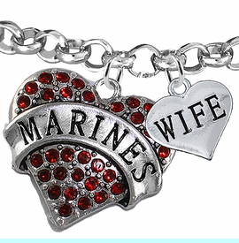 """<Br>         WHOLESALE USMC MARINES JEWELRY  <BR>                AN ALLAN ROBIN DESIGN!! <Br>          CADMIUM, LEAD & NICKEL FREE!!  <Br> W1478-1876B2 - """"MARINES - WIFE"""" HEART  <BR>CHARMS ON LOBSTER CLASP ROLLO CHAIN BRACELET <BR>            FROM $7.50 TO $9.50 �2016"""