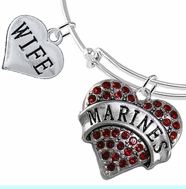 """<Br>         WHOLESALE USMC MARINES JEWELRY  <BR>                AN ALLAN ROBIN DESIGN!! <Br>          CADMIUM, LEAD & NICKEL FREE!!  <Br> W1478-1876B9 - """"MARINES - WIFE"""" HEART  <BR>CHARMS ON THIN ADJUSTABLE WIRE BRACELET <BR>            FROM $7.50 TO $9.50 �2016"""