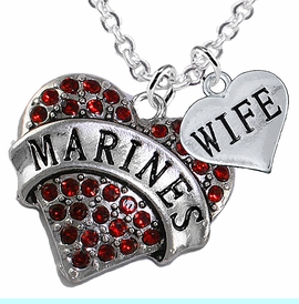 """<Br>         WHOLESALE USMC MARINES JEWELRY  <BR>                AN ALLAN ROBIN DESIGN!! <Br>          CADMIUM, LEAD & NICKEL FREE!!  <Br>W1478-1876N1 - """"MARINES - WIFE"""" HEART  <BR>  CHARMS ON LOBSTER CLASP CHAIN NECKLACE <BR>        FROM $8.50 TO $10.50 �2016"""