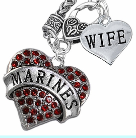 "<Br>         WHOLESALE USMC MARINES JEWELRY   <BR>                AN ALLAN ROBIN DESIGN!!  <Br>          CADMIUM, LEAD & NICKEL FREE!!   <Br>W1478-1876N10 - ""MARINES - WIFE"" HEART   <BR>CHARMS ON CLASP OF HEART LOBSTER CLASP CHAIN  <BR>   NECKLACE FROM $8.50 TO $10.50 �2016"