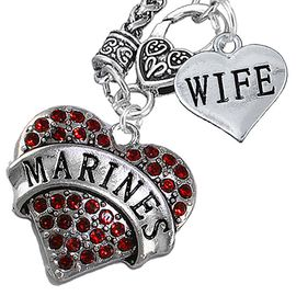 """<Br>         WHOLESALE USMC MARINES JEWELRY   <BR>                AN ALLAN ROBIN DESIGN!!  <Br>          CADMIUM, LEAD & NICKEL FREE!!   <Br>W1478-1876N10 - """"MARINES - WIFE"""" HEART   <BR>CHARMS ON CLASP OF HEART LOBSTER CLASP CHAIN  <BR>   NECKLACE FROM $8.50 TO $10.50 �2016"""