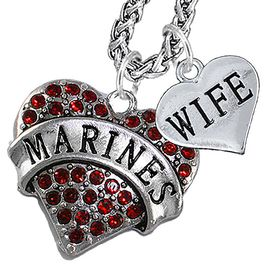 """<Br>                 WHOLESALE USMC MARINES JEWELRY   <BR>                     AN ALLAN ROBIN DESIGN!!  <Br>               CADMIUM, LEAD & NICKEL FREE!!   <Br> W1478-1876N14 - """"MARINES - WIFE"""" HEART   <BR>CHARMS ON CHAIN OF HEART LOBSTER CLASP CHAIN  <BR>         NECKLACE FROM $8.50 TO $10.50 �2016"""