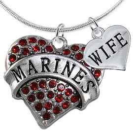 """<Br>         WHOLESALE USMC MARINES JEWELRY  <BR>                AN ALLAN ROBIN DESIGN!! <Br>          CADMIUM, LEAD & NICKEL FREE!!  <Br>W1478-1876N2 - """"MARINES - WIFE"""" HEART  <BR>  CHARMS ON LOBSTER CLASP SNAKE CHAIN NECKLACE <BR>        FROM $8.50 TO $10.50 �2016"""