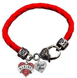<BR><B>MARINE, PROUD MOM, GENUINE CRYSTAL HEART</B><BR><BR>GENUINE RED WOVEN LEATHER BRACELET, VINTAGE ANTIQUE <BR>SILVER LOBSTER CLASP, NO NICKEL, NO LEAD, AND<BR> NO POISONOUS CADMIUM W1478-320B36 $11.88 Each  �2018