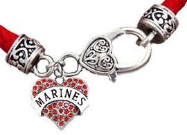 <BR><B>MARINE GENUINE CRYSTAL HEART</B><br>      <br>GENUINE RED WOVEN LEATHER BRACELET <BR>VINTAGE ANTIQUE SILVER LOBSTER CLASP<BR>NO NICKEL, NO LEAD, AND NO POISONOUS CADMIUM <br>W1478B36  $11.68 EACH  �2018