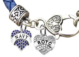 <br><b>NAVY ROTC GENUINE GENUINE CRYSTAL CHARMS, NAVY LEATHER BRACELET</b><br>   <br>NICKEL, LEAD, AND POISONOUS CADMIUM FREE,<BR> W1479-1788B39  $14.68 EACH �2019