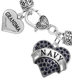 """<Br>     WHOLESALE NAVY MILITARY JEWELRY  <BR>                AN ALLAN ROBIN DESIGN!! <Br>          CADMIUM, LEAD & NICKEL FREE!!  <Br> W1479-1832B1 - """"NAVY - GRANDMA"""" HEART  <BR>  CHARMS ON HEART LOBSTER CLASP BRACELET <BR>            FROM $7.50 TO $9.50 �2016"""