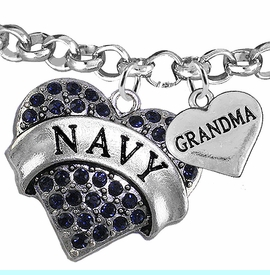 """<Br>         WHOLESALE NAVY MILITARY JEWELRY  <BR>                AN ALLAN ROBIN DESIGN!! <Br>          CADMIUM, LEAD & NICKEL FREE!!  <Br> W1479-1832B2 - """"NAVY - GRANDMA"""" HEART  <BR>CHARMS ON LOBSTER CLASP ROLLO CHAIN BRACELET <BR>            FROM $7.50 TO $9.50 �2016"""