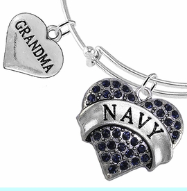 """<Br>         WHOLESALE NAVY MILITARY JEWELRY  <BR>                AN ALLAN ROBIN DESIGN!! <Br>          CADMIUM, LEAD & NICKEL FREE!!  <Br> W1479-1832B9 - """"NAVY - GRANDMA"""" HEART  <BR>CHARMS ON THIN ADJUSTABLE WIRE BRACELET <BR>            FROM $7.50 TO $9.50 �2016"""