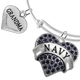 "<Br>         WHOLESALE NAVY MILITARY JEWELRY  <BR>                AN ALLAN ROBIN DESIGN!! <Br>          CADMIUM, LEAD & NICKEL FREE!!  <Br> W1479-1832B9 - ""NAVY - GRANDMA"" HEART  <BR>CHARMS ON THIN ADJUSTABLE WIRE BRACELET <BR>            FROM $7.50 TO $9.50 �2016"