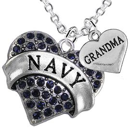 """<Br>         WHOLESALE NAVY MILITARY JEWELRY  <BR>                AN ALLAN ROBIN DESIGN!! <Br>          CADMIUM, LEAD & NICKEL FREE!!  <Br>W1479-1832N1 - """"NAVY - GRANDMA"""" HEART  <BR>  CHARMS ON LOBSTER CLASP CHAIN NECKLACE <BR>        FROM $8.50 TO $10.50 �2016"""