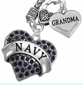 """<Br>         WHOLESALE NAVY MILITARTY JEWELRY   <BR>                AN ALLAN ROBIN DESIGN!!  <Br>          CADMIUM, LEAD & NICKEL FREE!!   <Br>W1479-1832N10 - """"NAVY - GRANDMA"""" HEART   <BR>CHARMS ON CLASP OF HEART LOBSTER CLASP CHAIN  <BR>   NECKLACE FROM $8.50 TO $10.50 �2016"""