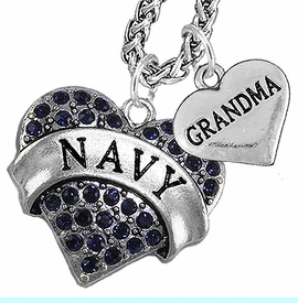 """<Br>                 WHOLESALE NAVY MILITARY JEWELRY   <BR>                     AN ALLAN ROBIN DESIGN!!  <Br>               CADMIUM, LEAD & NICKEL FREE!!   <Br> W1479-1832N14 - """"NAVY - GRANDMA"""" HEART   <BR>CHARMS ON CHAIN OF HEART LOBSTER CLASP CHAIN  <BR>         NECKLACE FROM $8.50 TO $10.50 �2016"""