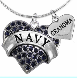 """<Br>         WHOLESALE NAVY MILITARY JEWELRY  <BR>                AN ALLAN ROBIN DESIGN!! <Br>          CADMIUM, LEAD & NICKEL FREE!!  <Br>W1479-1832N2 - """"NAVY - GRANDMA"""" HEART  <BR>  CHARMS ON LOBSTER CLASP SNAKE CHAIN NECKLACE <BR>        FROM $8.50 TO $10.50 �2016"""
