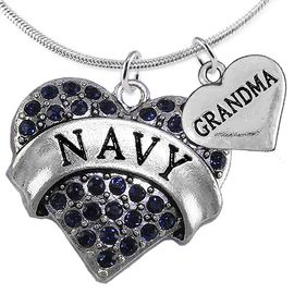 "<Br>         WHOLESALE NAVY MILITARY JEWELRY  <BR>                AN ALLAN ROBIN DESIGN!! <Br>          CADMIUM, LEAD & NICKEL FREE!!  <Br>W1479-1832N2 - ""NAVY - GRANDMA"" HEART  <BR>  CHARMS ON LOBSTER CLASP SNAKE CHAIN NECKLACE <BR>        FROM $8.50 TO $10.50 �2016"