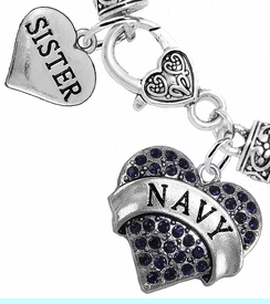 """<Br>     WHOLESALE NAVY MILITARY JEWELRY  <BR>                AN ALLAN ROBIN DESIGN!! <Br>          CADMIUM, LEAD & NICKEL FREE!!  <Br> W1479-1832B1 - """"NAVY - SISTER"""" HEART  <BR>  CHARMS ON HEART LOBSTER CLASP BRACELET <BR>            FROM $7.50 TO $9.50 �2016"""