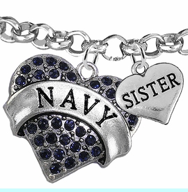 """<Br>         WHOLESALE NAVY MILITARY JEWELRY  <BR>                AN ALLAN ROBIN DESIGN!! <Br>          CADMIUM, LEAD & NICKEL FREE!!  <Br> W1479-1833B2 - """"NAVY - SISTER"""" HEART  <BR>CHARMS ON LOBSTER CLASP ROLLO CHAIN BRACELET <BR>            FROM $7.50 TO $9.50 �2016"""