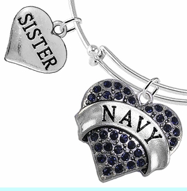 """<Br>         WHOLESALE NAVY MILITARY JEWELRY  <BR>                AN ALLAN ROBIN DESIGN!! <Br>          CADMIUM, LEAD & NICKEL FREE!!  <Br> W1479-1833B9 - """"NAVY - SISTER"""" HEART  <BR>CHARMS ON THIN ADJUSTABLE WIRE BRACELET <BR>            FROM $7.50 TO $9.50 �2016"""
