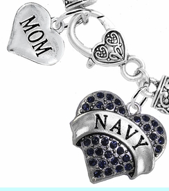 """<Br>     WHOLESALE NAVY MILITARY JEWELRY  <BR>                AN ALLAN ROBIN DESIGN!! <Br>          CADMIUM, LEAD & NICKEL FREE!!  <Br> W1479-1837B1 - """"NAVY - MOM"""" HEART  <BR>  CHARMS ON HEART LOBSTER CLASP BRACELET <BR>            FROM $7.50 TO $9.50 �2016"""