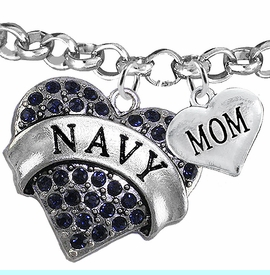 """<Br>         WHOLESALE NAVY MILITARY JEWELRY  <BR>                AN ALLAN ROBIN DESIGN!! <Br>          CADMIUM, LEAD & NICKEL FREE!!  <Br> W1479-1837B2 - """"NAVY - MOM"""" HEART  <BR>CHARMS ON LOBSTER CLASP ROLLO CHAIN BRACELET <BR>            FROM $7.50 TO $9.50 �2016"""