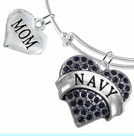 """<Br>         WHOLESALE NAVY MILITARY JEWELRY  <BR>                AN ALLAN ROBIN DESIGN!! <Br>          CADMIUM, LEAD & NICKEL FREE!!  <Br> W1479-1837B9 - """"NAVY - MOM"""" HEART  <BR>CHARMS ON THIN ADJUSTABLE WIRE BRACELET <BR>            FROM $7.50 TO $9.50 �2016"""