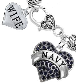 "<Br>     WHOLESALE NAVY MILITARY JEWELRY  <BR>                AN ALLAN ROBIN DESIGN!! <Br>          CADMIUM, LEAD & NICKEL FREE!!  <Br> W1479-1876B1 - ""NAVY - WIFE"" HEART  <BR>  CHARMS ON HEART LOBSTER CLASP BRACELET <BR>            FROM $7.50 TO $9.50 �2016"