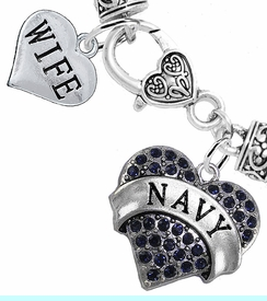 """<Br>     WHOLESALE NAVY MILITARY JEWELRY  <BR>                AN ALLAN ROBIN DESIGN!! <Br>          CADMIUM, LEAD & NICKEL FREE!!  <Br> W1479-1876B1 - """"NAVY - WIFE"""" HEART  <BR>  CHARMS ON HEART LOBSTER CLASP BRACELET <BR>            FROM $7.50 TO $9.50 �2016"""