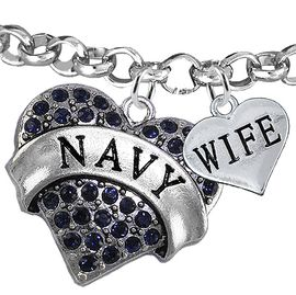 "<Br>         WHOLESALE NAVY MILITARY JEWELRY  <BR>                AN ALLAN ROBIN DESIGN!! <Br>          CADMIUM, LEAD & NICKEL FREE!!  <Br> W1479-1876B2 - ""NAVY - WIFE"" HEART  <BR>CHARMS ON LOBSTER CLASP ROLLO CHAIN BRACELET <BR>            FROM $7.50 TO $9.50 �2016"