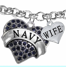 """<Br>         WHOLESALE NAVY MILITARY JEWELRY  <BR>                AN ALLAN ROBIN DESIGN!! <Br>          CADMIUM, LEAD & NICKEL FREE!!  <Br> W1479-1876B2 - """"NAVY - WIFE"""" HEART  <BR>CHARMS ON LOBSTER CLASP ROLLO CHAIN BRACELET <BR>            FROM $7.50 TO $9.50 �2016"""