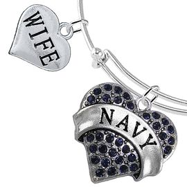 """<Br>         WHOLESALE NAVY MILITARY JEWELRY  <BR>                AN ALLAN ROBIN DESIGN!! <Br>          CADMIUM, LEAD & NICKEL FREE!!  <Br> W1479-1876B9 - """"NAVY - WIFE"""" HEART  <BR>CHARMS ON THIN ADJUSTABLE WIRE BRACELET <BR>            FROM $7.50 TO $9.50 �2016"""