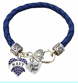 <BR><B>NAVY, PROUD MOM, GENUINE CRYSTAL HEART</B><BR><BR>GENUINE DARK BLUE WOVEN LEATHER BRACELET, VINTAGE ANTIQUE <BR>SILVER LOBSTER CLASP, NO NICKEL, NO LEAD, AND<BR> NO POISONOUS CADMIUM W1479-320B36 $11.88 Each  �2018