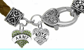<BR><B>ARMY ROTC BRACELET</B><br>      <br>GENUINE BROWN WOVEN LEATHER BAND <BR>NICKEL, LEAD, AND POISONOUS CADMIUM FREE<br>W1480-1788B45  $14.68 EACH  �2019
