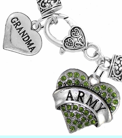 """<Br>     WHOLESALE ARMY MILITARY JEWELRY  <BR>                AN ALLAN ROBIN DESIGN!! <Br>          CADMIUM, LEAD & NICKEL FREE!!  <Br> W1480-1832B1 - """"ARMY - GRANDMA"""" HEART  <BR>  CHARMS ON HEART LOBSTER CLASP BRACELET <BR>            FROM $7.50 TO $9.50 �2016"""