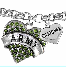 """<Br>         WHOLESALE ARMY MILITARY JEWELRY  <BR>                AN ALLAN ROBIN DESIGN!! <Br>          CADMIUM, LEAD & NICKEL FREE!!  <Br> W1480-1832B2 - """"ARMY - GRANDMA"""" HEART  <BR>CHARMS ON LOBSTER CLASP ROLLO CHAIN BRACELET <BR>            FROM $7.50 TO $9.50 �2016"""