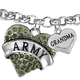 "<Br>         WHOLESALE ARMY MILITARY JEWELRY  <BR>                AN ALLAN ROBIN DESIGN!! <Br>          CADMIUM, LEAD & NICKEL FREE!!  <Br> W1480-1832B2 - ""ARMY - GRANDMA"" HEART  <BR>CHARMS ON LOBSTER CLASP ROLLO CHAIN BRACELET <BR>            FROM $7.50 TO $9.50 �2016"