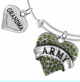 """<Br>         WHOLESALE ARMY MILITARY JEWELRY  <BR>                AN ALLAN ROBIN DESIGN!! <Br>          CADMIUM, LEAD & NICKEL FREE!!  <Br> W1480-1832B9 - """"ARMY - GRANDMA"""" HEART  <BR>CHARMS ON THIN ADJUSTABLE WIRE BRACELET <BR>            FROM $7.50 TO $9.50 �2016"""