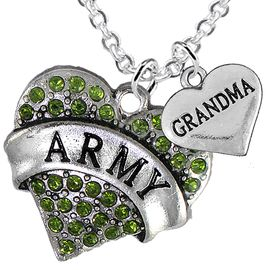 "<Br>      WHOLESALE ARMY MILITARY JEWELRY  <BR>                AN ALLAN ROBIN DESIGN!! <Br>          CADMIUM, LEAD & NICKEL FREE!!  <Br>W1480-1832N1 - ""ARMY - GRANDMA"" HEART  <BR>  CHARMS ON LOBSTER CLASP CHAIN NECKLACE <BR>        FROM $8.50 TO $10.50 �2016"