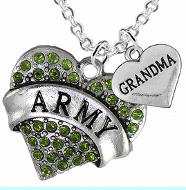 """<Br>      WHOLESALE ARMY MILITARY JEWELRY  <BR>                AN ALLAN ROBIN DESIGN!! <Br>          CADMIUM, LEAD & NICKEL FREE!!  <Br>W1480-1832N1 - """"ARMY - GRANDMA"""" HEART  <BR>  CHARMS ON LOBSTER CLASP CHAIN NECKLACE <BR>        FROM $8.50 TO $10.50 �2016"""
